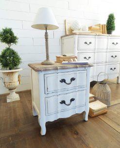 comodino bianco in legno