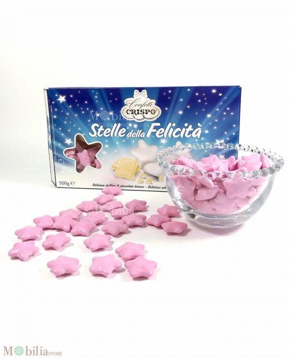 Confetti stella rosa al cioccolato bianco