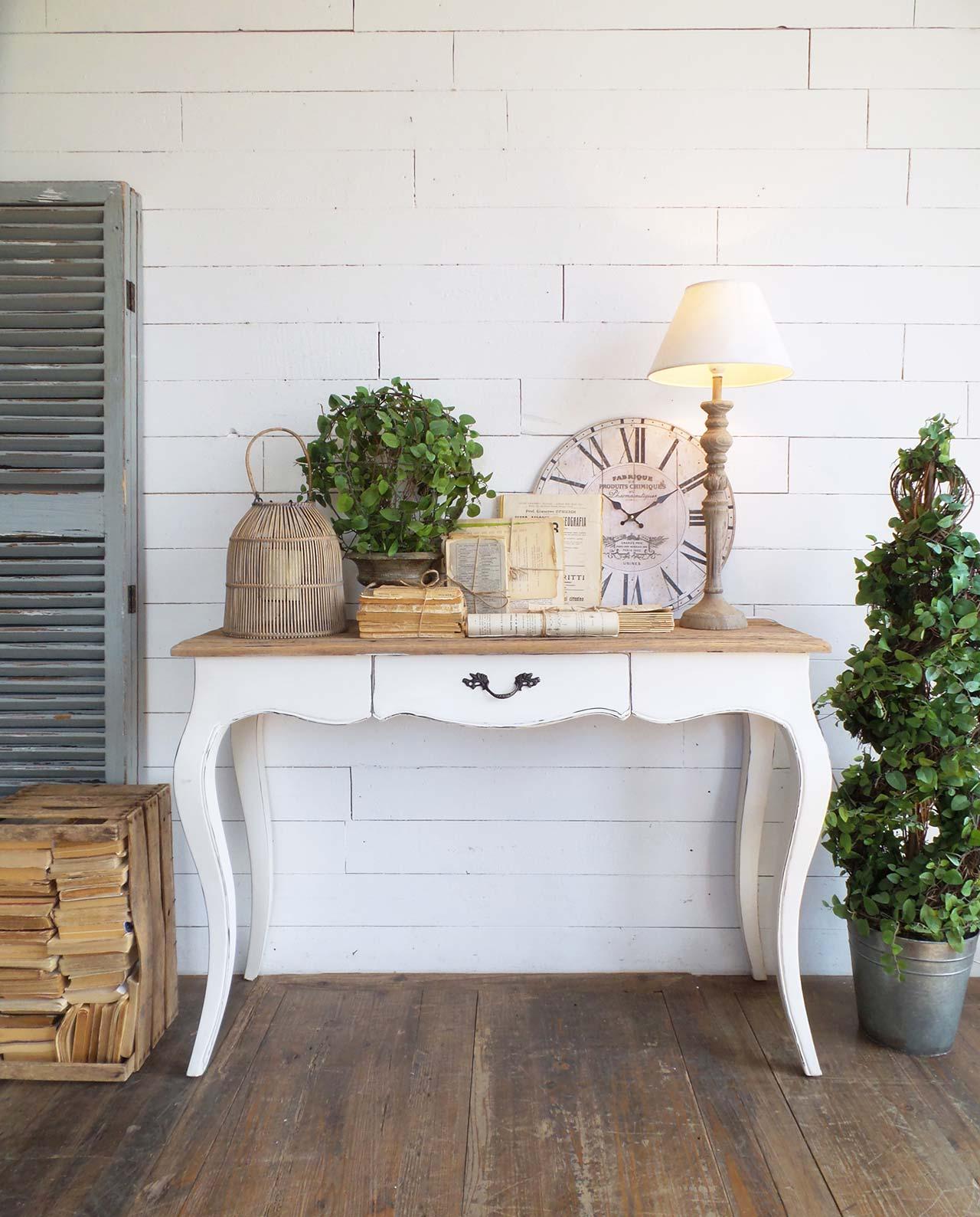 Arredamento casa consolle bianca in legno vintage for Consolle arredamento