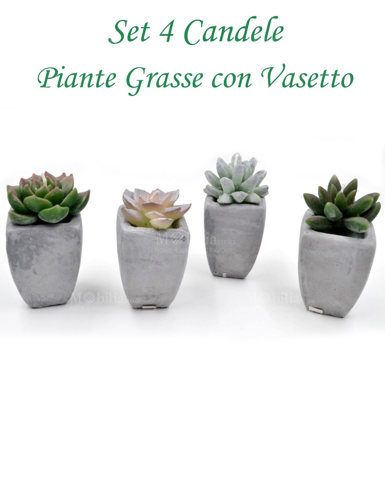 abbastanza Candele piante grasse con vasetto set 4 pz - Mobilia Store Home  KW08