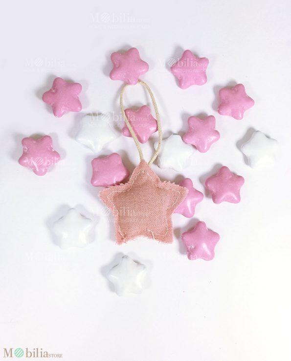 Stelle decorative rosa set 6 pezzi