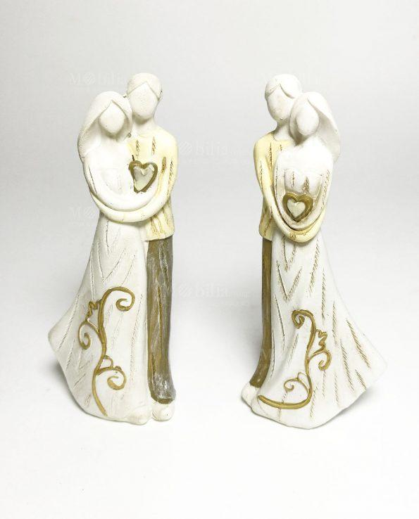Statua sposi stilizzati bomboniere set 2 posizioni assortite
