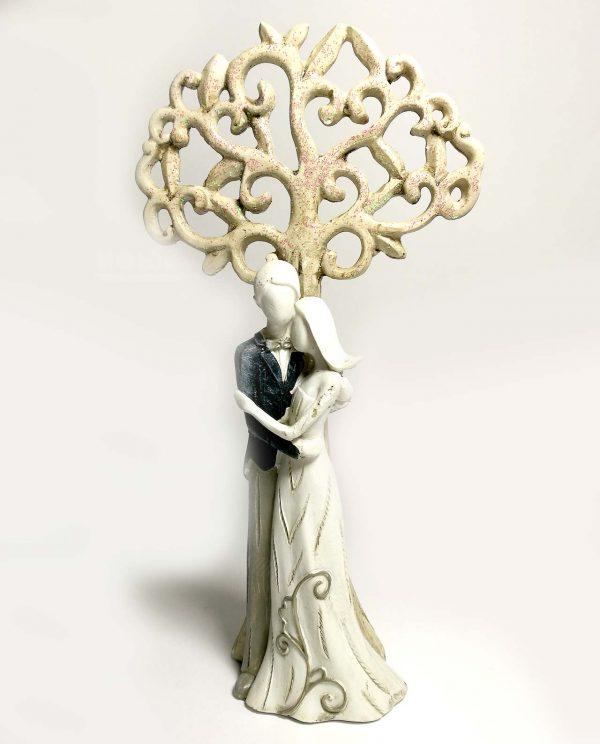 scultura coppia sposini resina con albero della vita glitterato