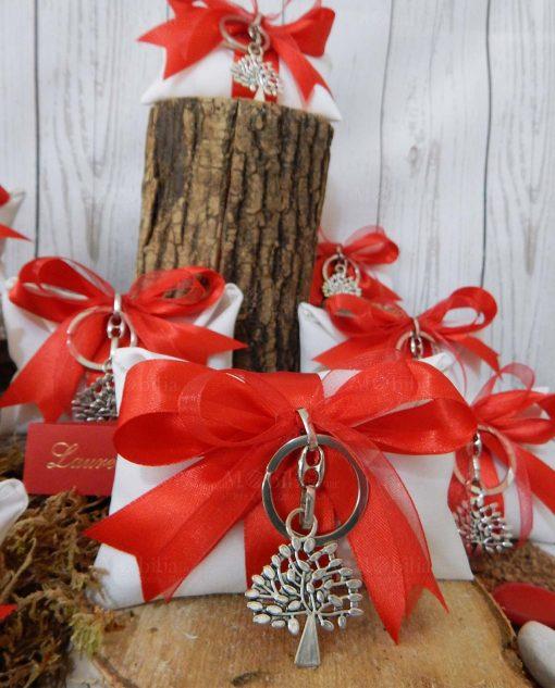 bomboniera portachiavi albero della vita su sacchetto bianco