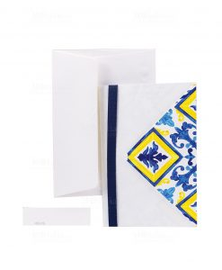 partecipazione e invito bianco cartoncino con maioliche blu e gialle