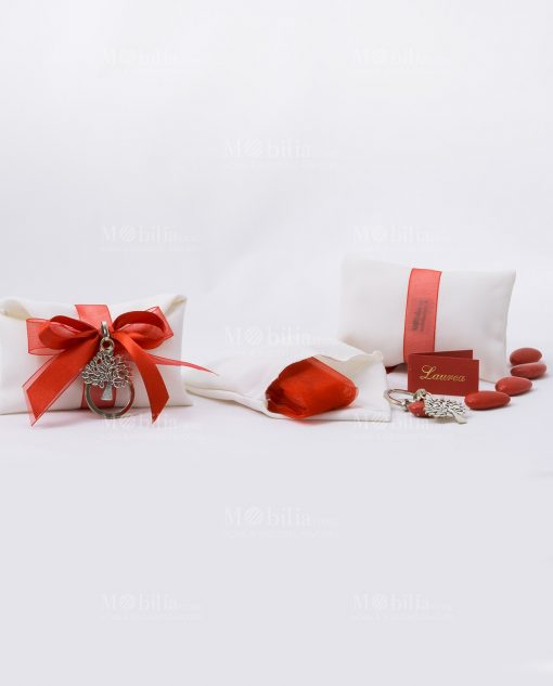 portachiavi albero della vita metallo con sacchetto e confetti