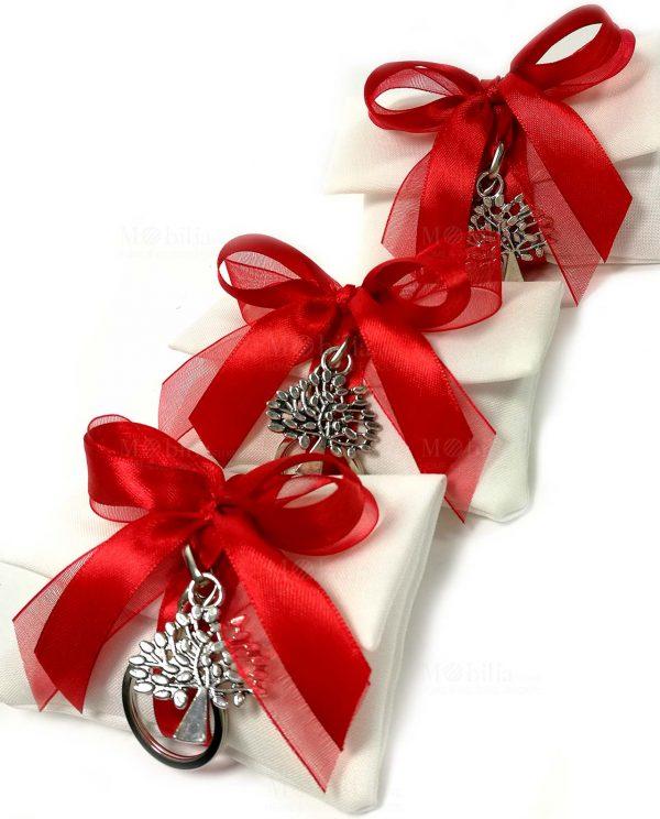portachiavi albero della vita su sacchettino bustina con nastri rossi