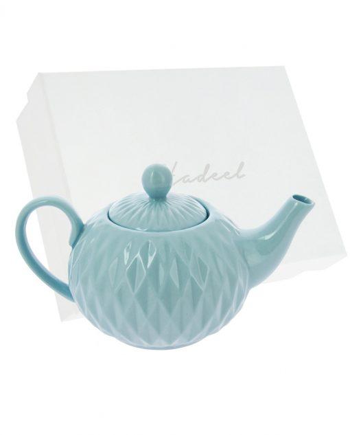 teiera azzurra in ceramica decorata con scatola novità 2018