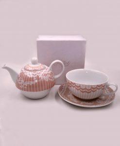 teiera in ceramica con tazza per bomboniere tema tè