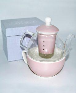 tisaniera con tazza incorporata rosa