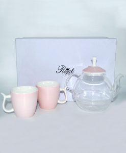 tisaniera con tazze rosa per bomboniere fai da te