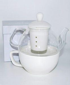 tisaniera in vetro con tazza per bomboniere