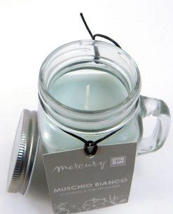 Boccale in vetro con candela profumata e coperchio