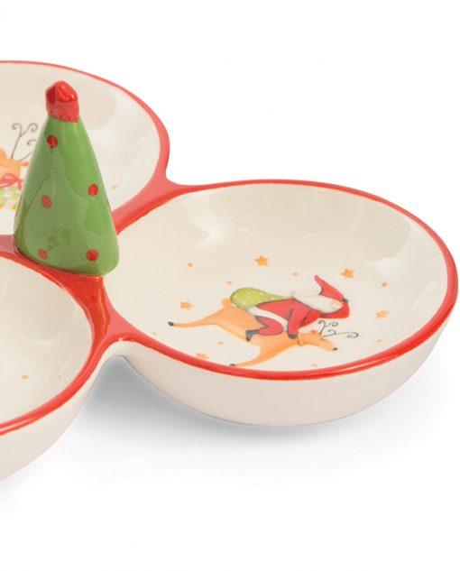 antipastiera 3 ciotole natalizia