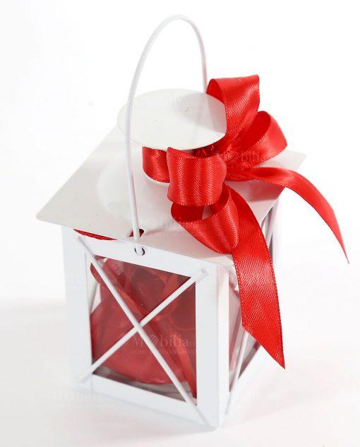 Bomboniera lanterna metallo con fiocco e sacchettino organza rossa
