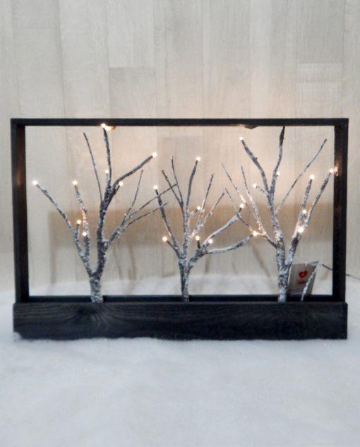 decorazione natalizia quadro con rami innevati