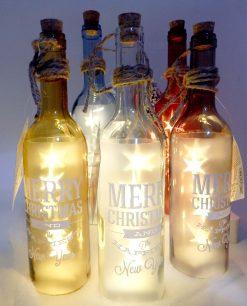 decorazioni natalizie bottiglie in vetro con luci