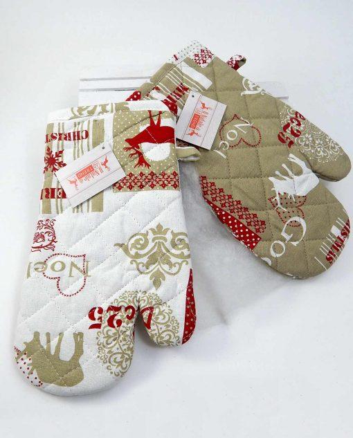 guanti da cucina con decori natalizi