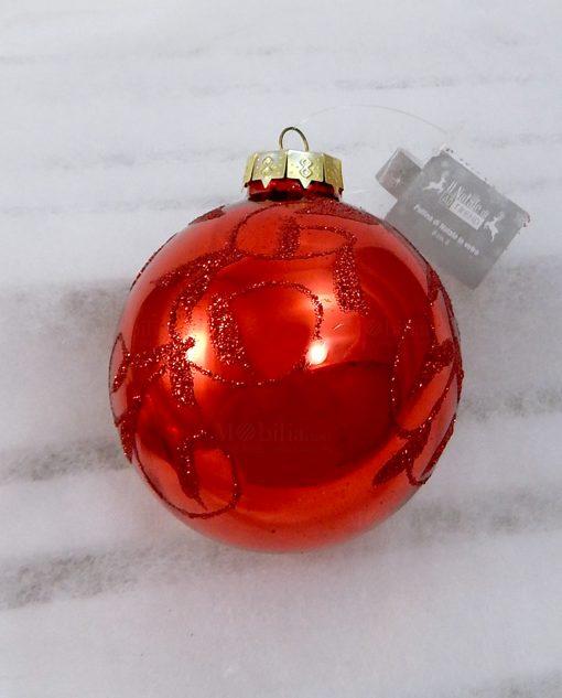 pallina di natale in vetro rosso con decori