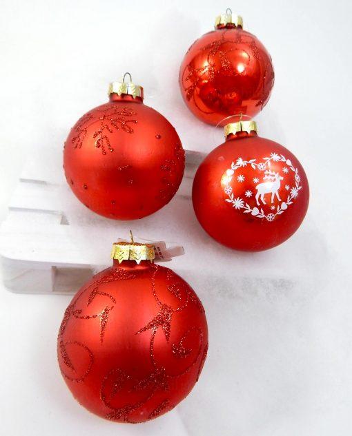 palline di natale rosse con decori brillantinati