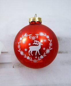 palline natalizie in vetro rosso con renna
