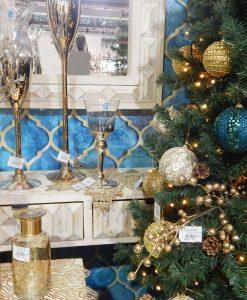 portacandela in vetro oro