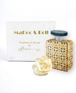 profumatore per ambienti bottiglia bruce 225 ml maroc e roll baci milano con fiore carta di gelso