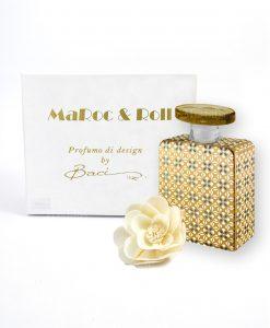 profumatore per ambienti bottiglia jacko 225 ml maroc e roll baci milano con fiore carta di gelso