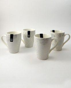 tazze in porcellana bianca con decori grigi assortiti