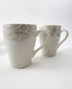 tazze mug in porcellana con decori grigi