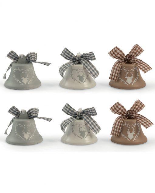 Campanelle natalizie in ceramica con renna set 6 pz