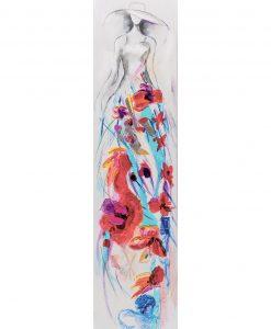 Quadri dipinti su tela donna con abiti a fiori