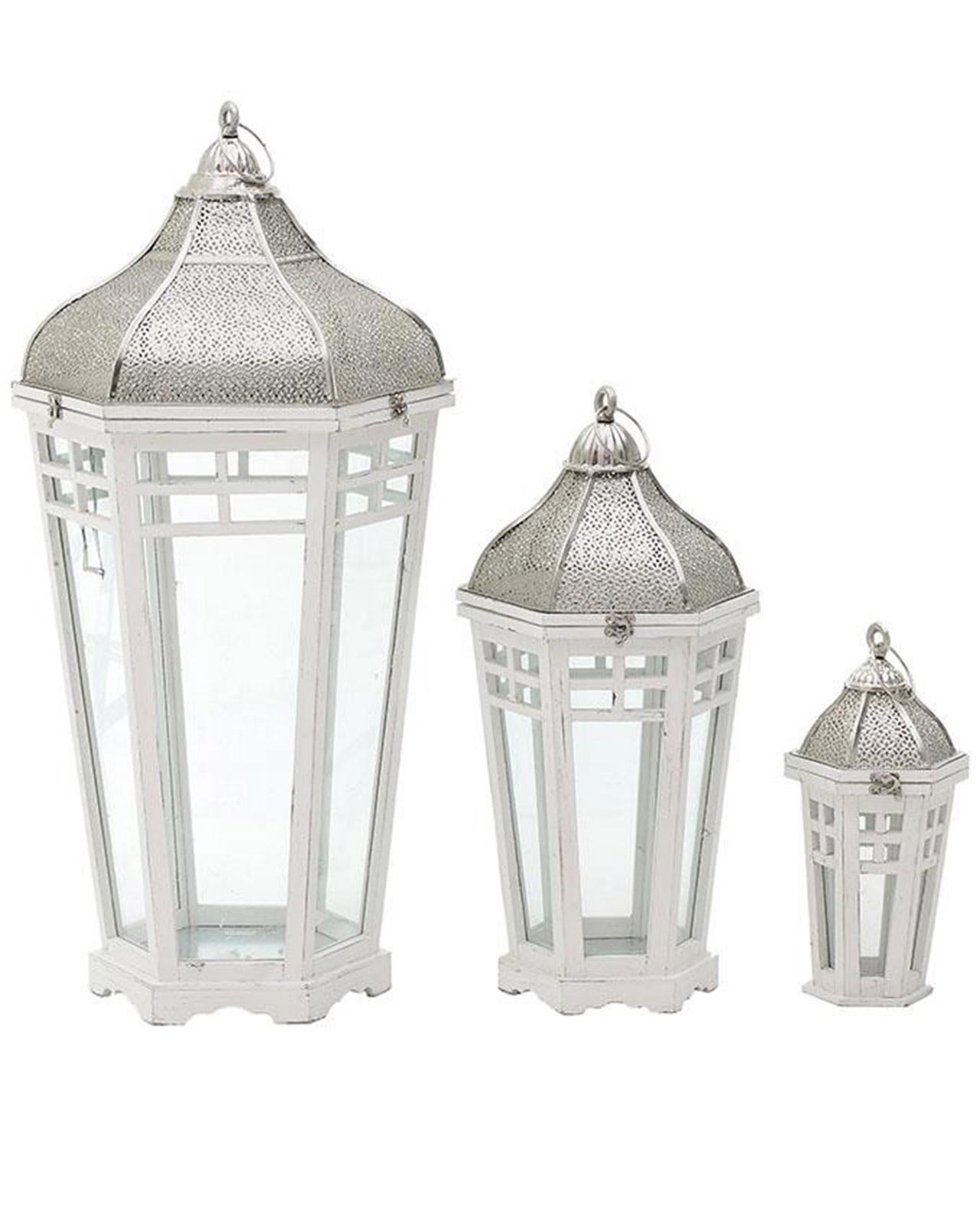Lanterne in legno bianco mobilia store home favours for Lanterne in legno