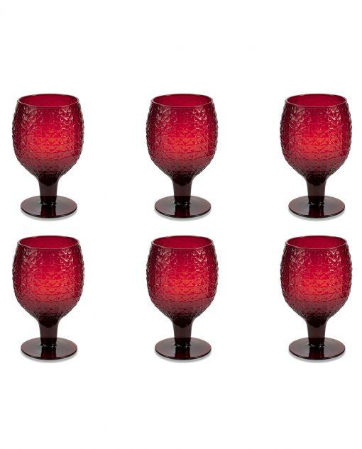 Set 6 calici in vetro rosso