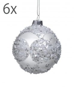 Set 6 palline natalizie con strass argento