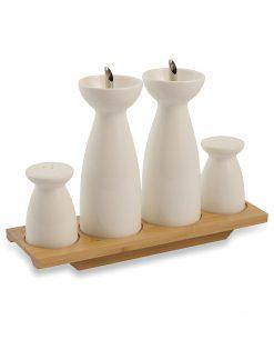 Set olio aceto sale pepe ceramica bianca
