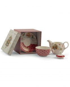 Teiera natalizia con tazza e piattino