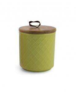barattolo in ceramica decorata a rilievo con tappo in bamboo