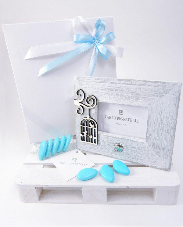 bomboniera-portafoto-medio-pignatelli-dorotea-con fiocchi azzurri