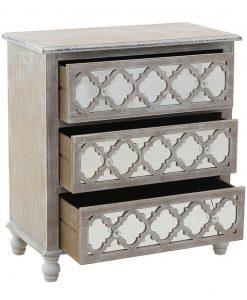 cassettiera in legno decapato con decori