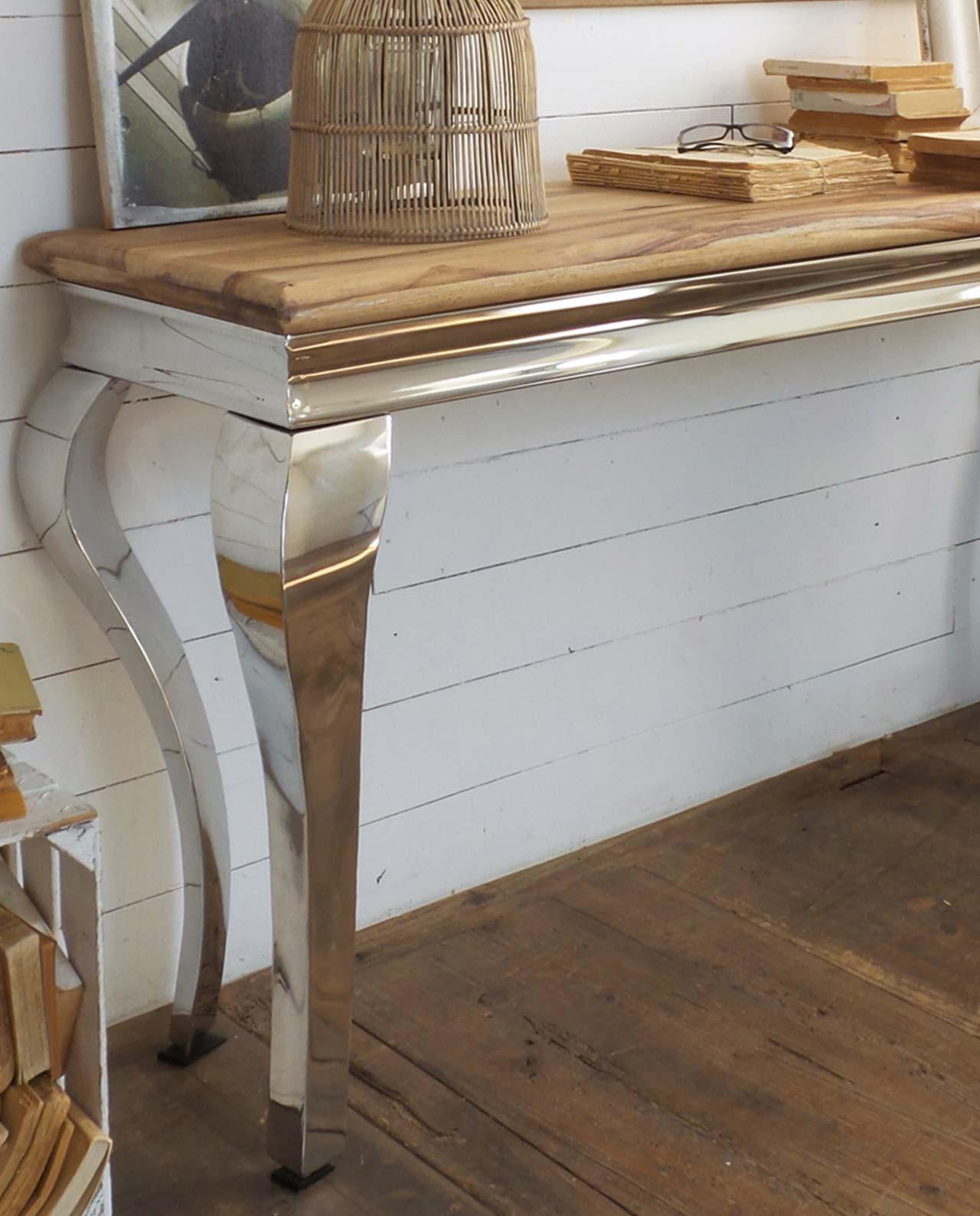 Consolle stile industriale in legno di palissandro e acciaio ...