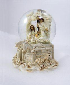 decorazioni natalizie sfera natività bianca 1