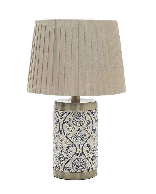 lampada da tavolo con decori blu