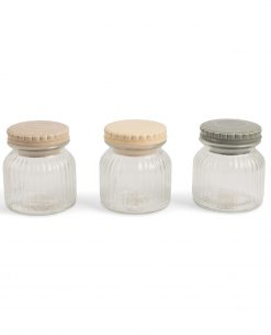 set 3 barattoli in vetro con tappo decorato