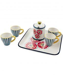 set 4 tazzine da caffè con zuccheriera e vassoio Villa dEste