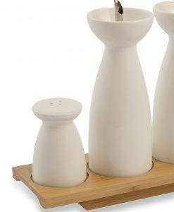set condimento in ceramica bianca