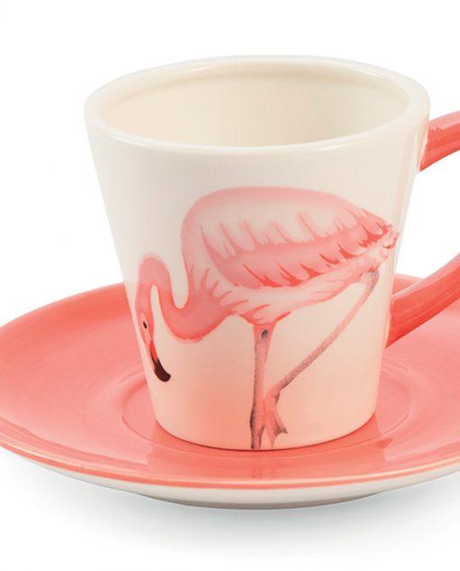 tazza con fenicottero rosa in ceramica
