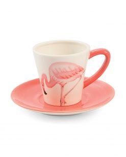 tazza da the in ceramica con fenicottero rosa