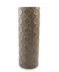 vaso cilindrico in ceramica tortora