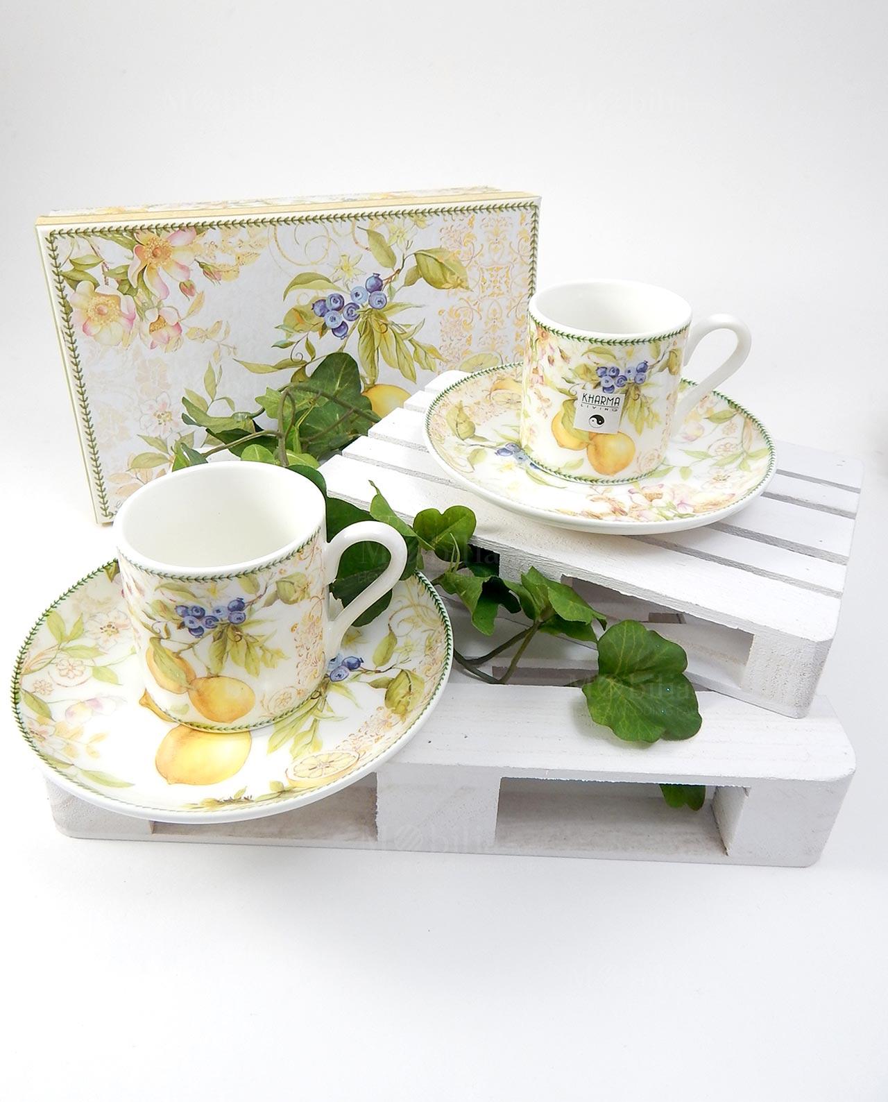 Coppia tazzine da caffè con decorazione limoni